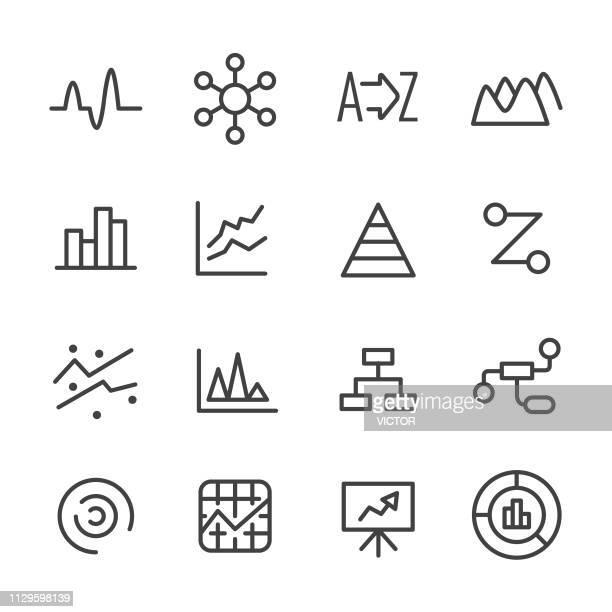 chart icons - line series - spreadsheet stock illustrations