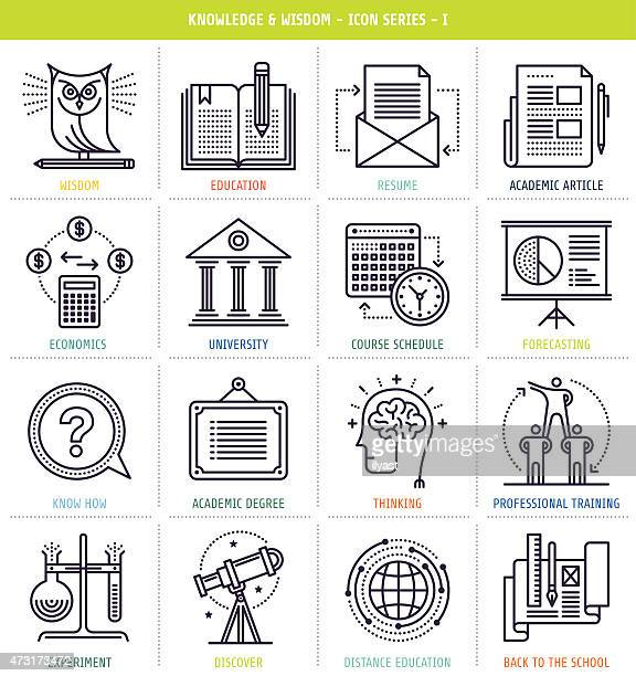 Chart of icons related to knowledge, wisdom, and education