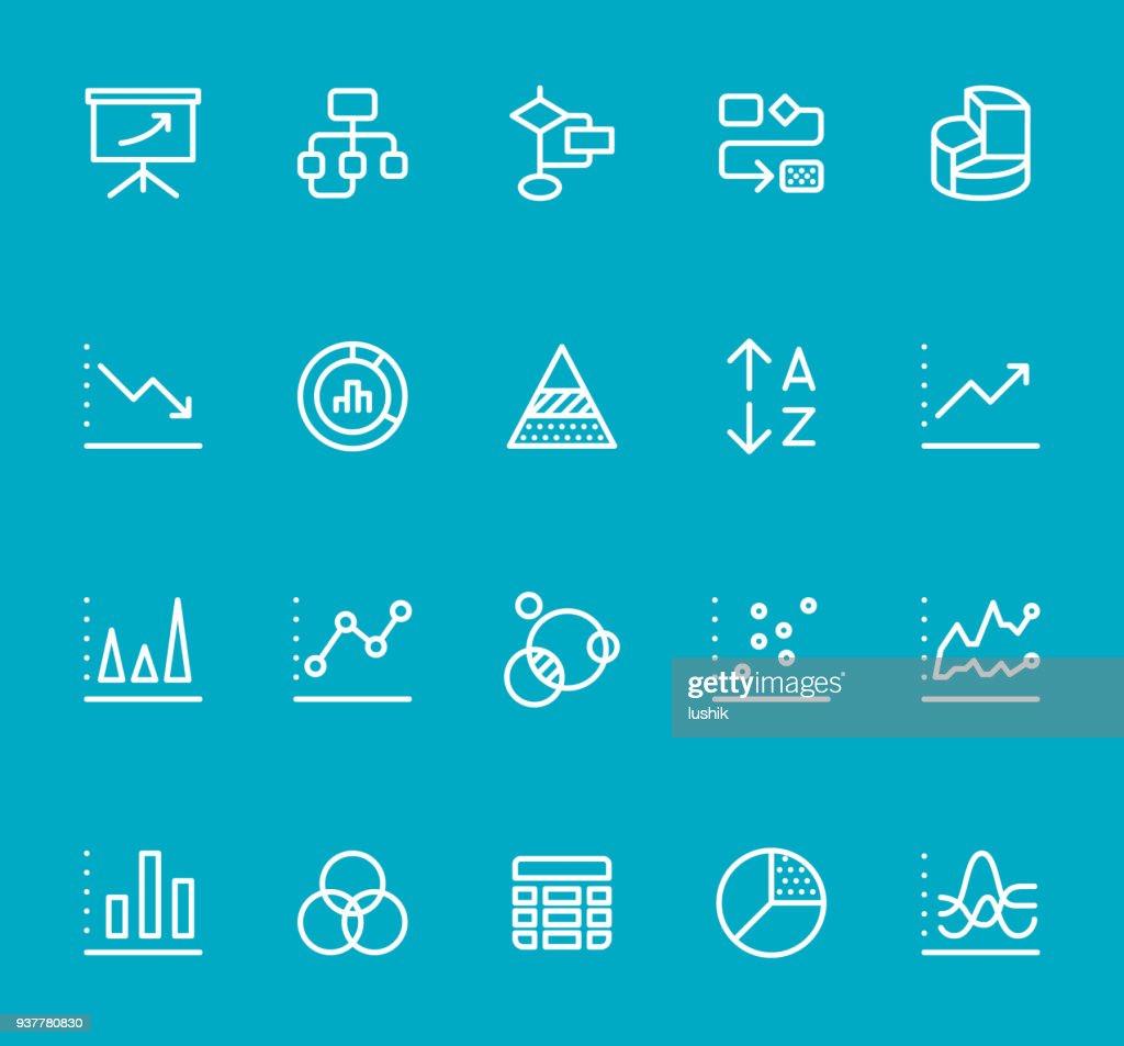 Chart Types Line Icon Set Stock Vector
