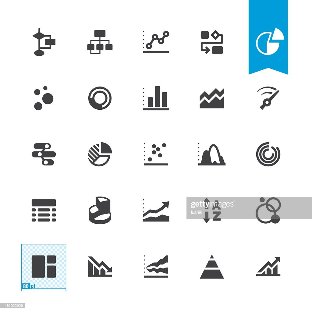 Chart types related vector icons