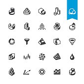 3D Chart types related vector icons