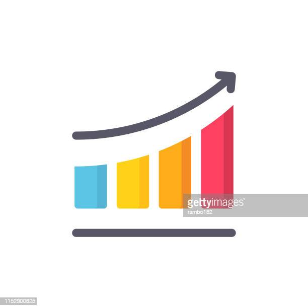 chart with arrow flat icon. pixel perfect. for mobile and web. - curve stock illustrations