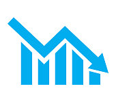 chart with bars declining on white background. Chart icon. chart icon for your web site design, logo, app, UI. flat style.