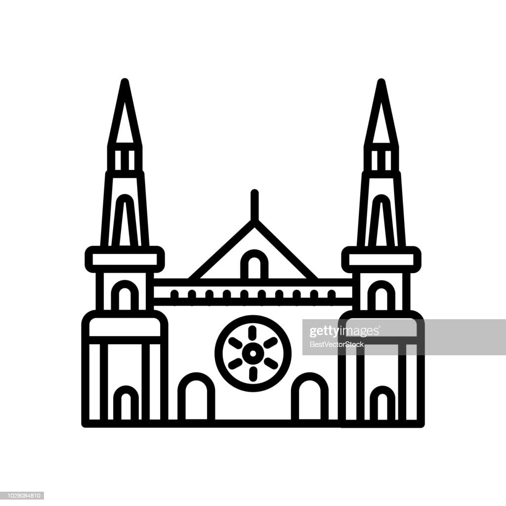 Chartres Cathedral icon vector isolated on white background, Chartres Cathedral sign , line or linear sign, element design in outline style