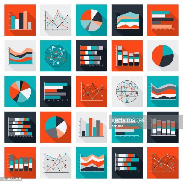diagramme und graphen icon set - liniendiagramm stock-grafiken, -clipart, -cartoons und -symbole