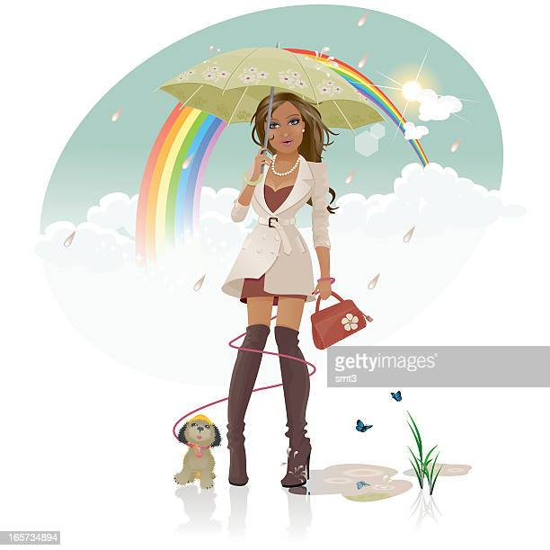 chasing rainbows - puddle stock illustrations, clip art, cartoons, & icons
