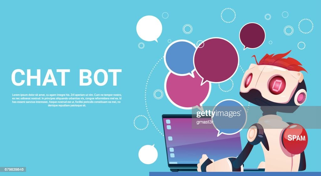 Chat Bot Using Laptop Computer, Robot Virtual Assistance Of Website Or Mobile Applications, Artificial Intelligence Concept