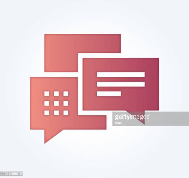 stockillustraties, clipart, cartoons en iconen met chat bots services verloop vul kleur & papier-cut stijl pictogram ontwerp - flexplekken