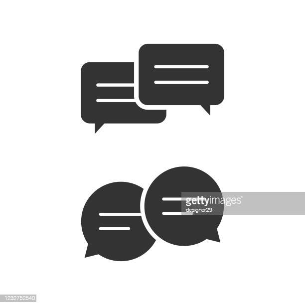 chat bubble icon set. dialogue balloons vector design. - q and a stock illustrations
