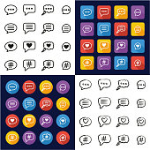 Chat Bubble Icons All in One Icons Black & White Color Flat Design Freehand Set