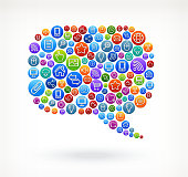 Chat Bubble on Social Networking & Internet Color Buttons