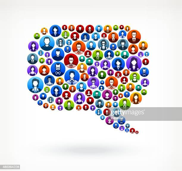 chat bubble people faces community and communication pattern. - adulation stock illustrations, clip art, cartoons, & icons