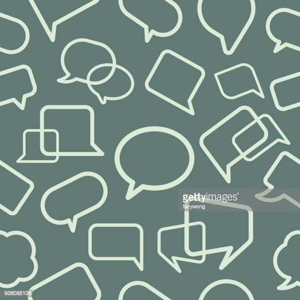 chat bubble seamless pattern - discussion stock illustrations