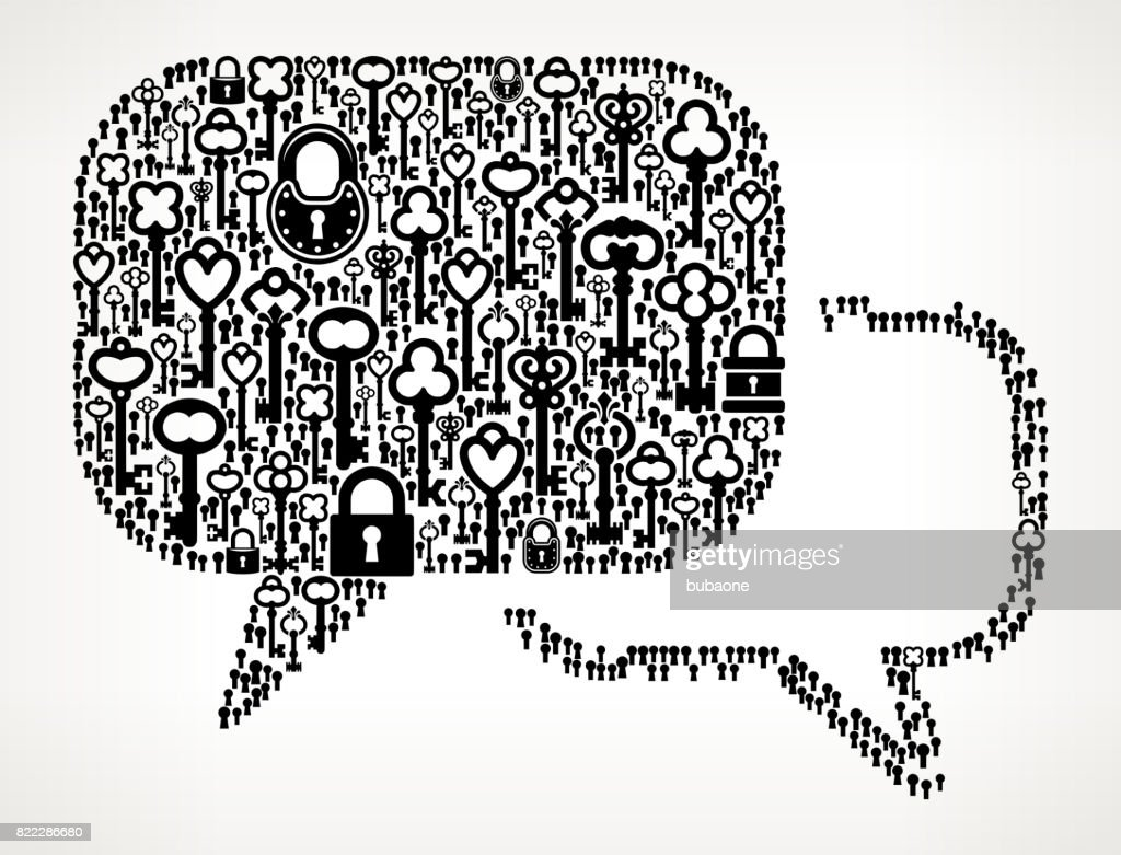 Chat Bubbles  Antique Keys Black and White Vector Pattern : stock illustration