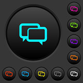 Chat bubbles dark push buttons with color icons