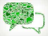 Chat Bubbles Farming and Agriculture Green Icon Pattern