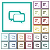 Chat bubbles flat color icons with quadrant frames