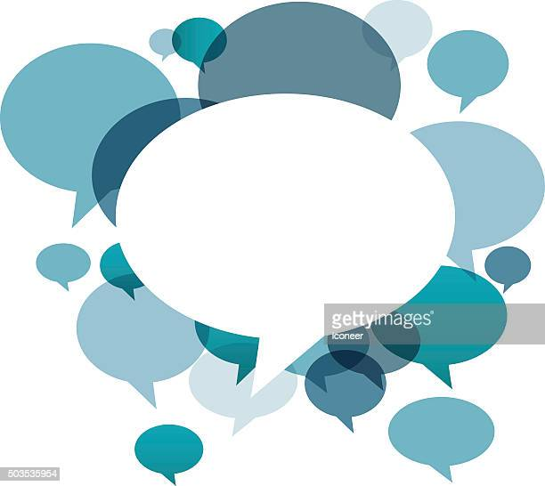 Chat bubbles in various colors on white background