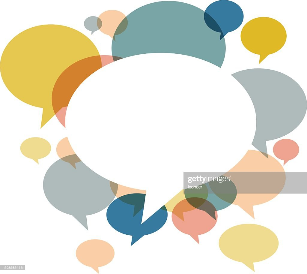 Chat bubbles in various retro colors on white background