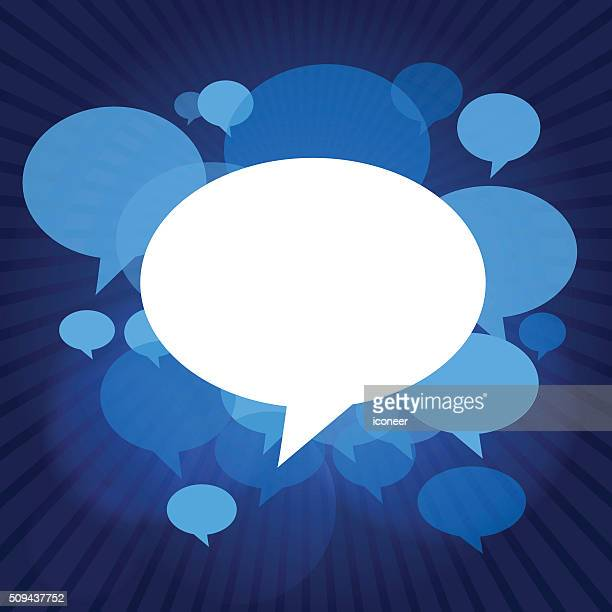 Chat bubbles on blue dark rays background