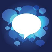 Chat bubbles on blue glow background