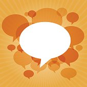 Chat bubbles on orange light rays background
