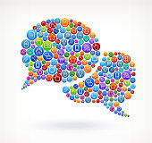 Chat Bubbles on Social Networking & Internet Color Buttons