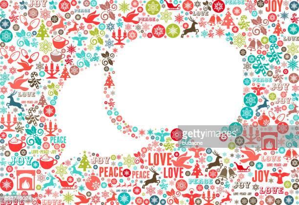 Chat Chrismas Holiday Celebration Vector Icon Pattern