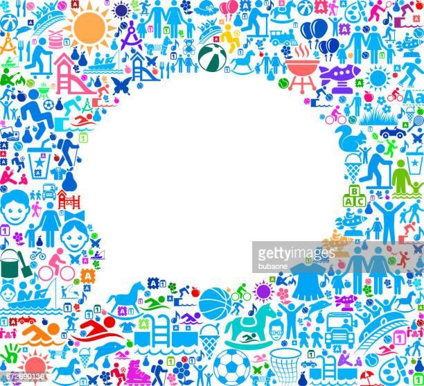 Chat-Familienurlaub und Sommerspaß Icons Hintergrund