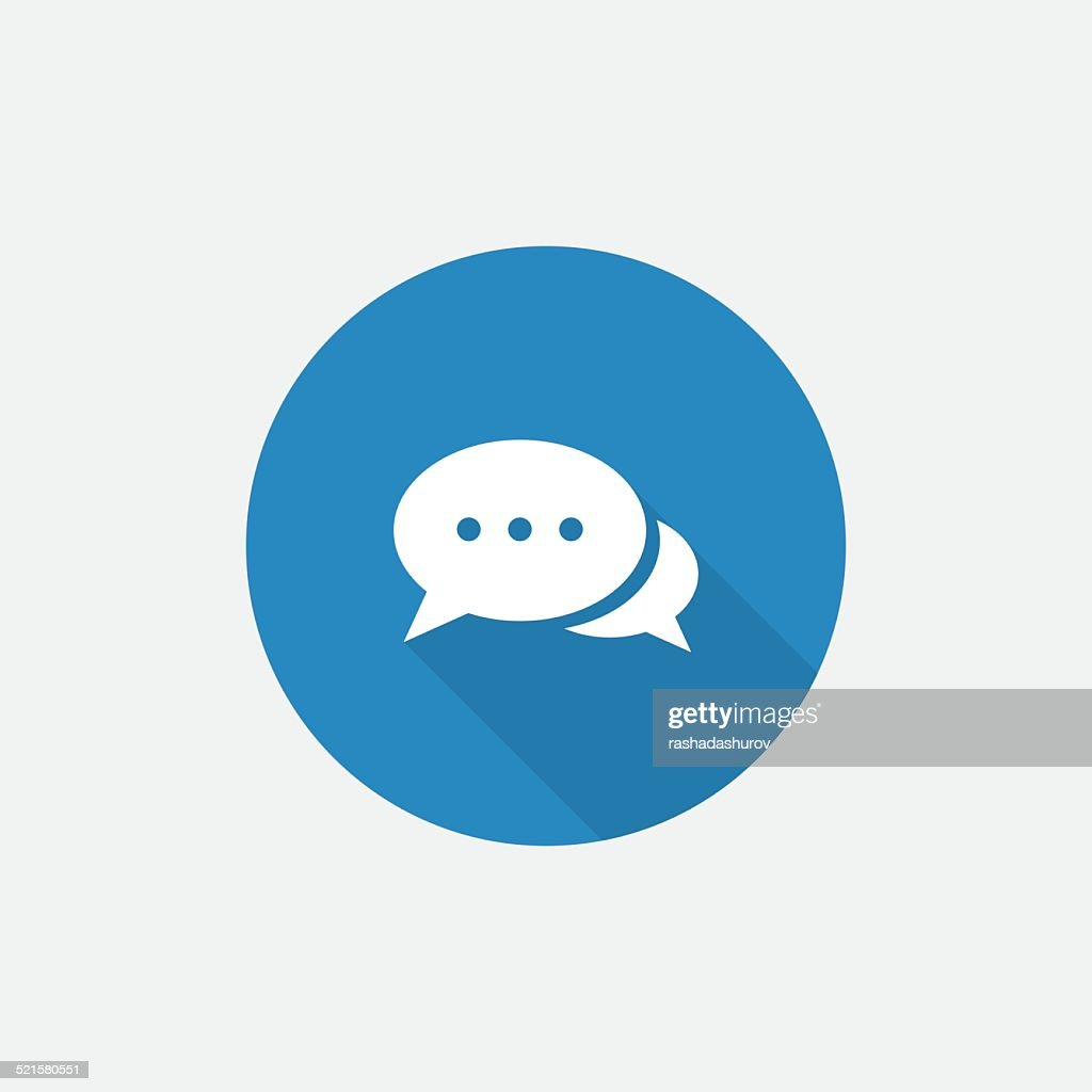 chat Flat Blue Simple Icon with long shadow