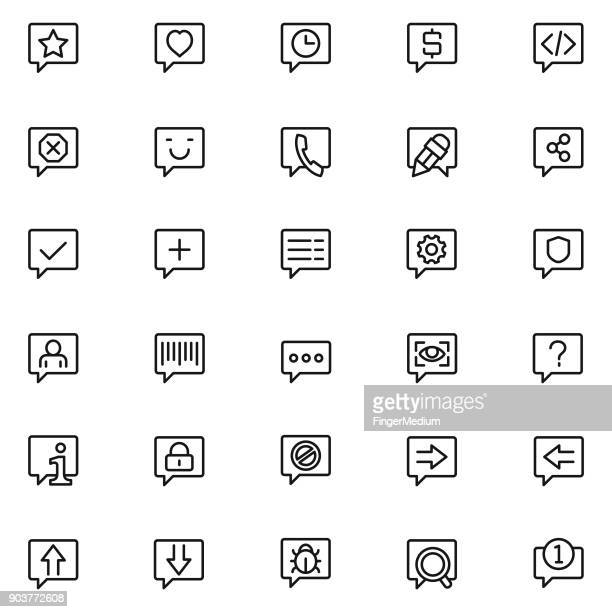 chat icon set - video editing stock illustrations, clip art, cartoons, & icons