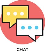 Chat icon. Two speech bubbles. Modern flat design thin line concept. Vector icon