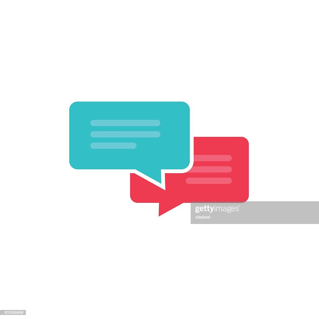 Chat icon vector isolated, dialog bubble speech symbol