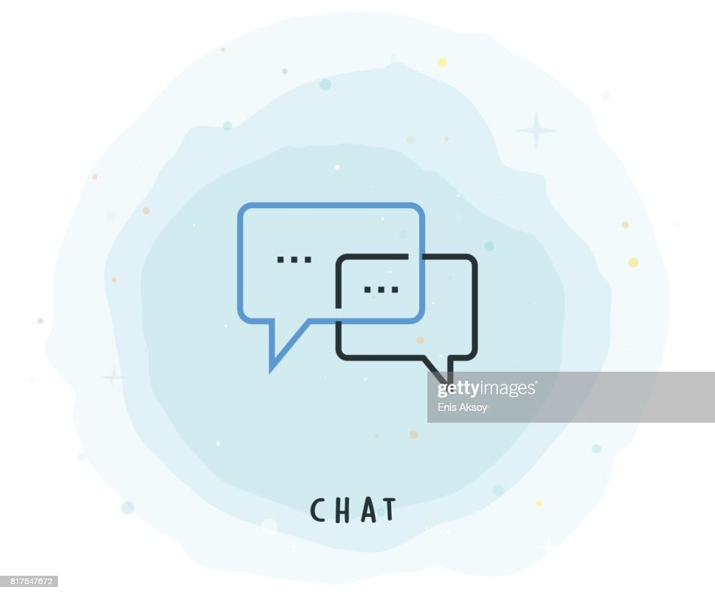 Chat Icon with Watercolor Patch