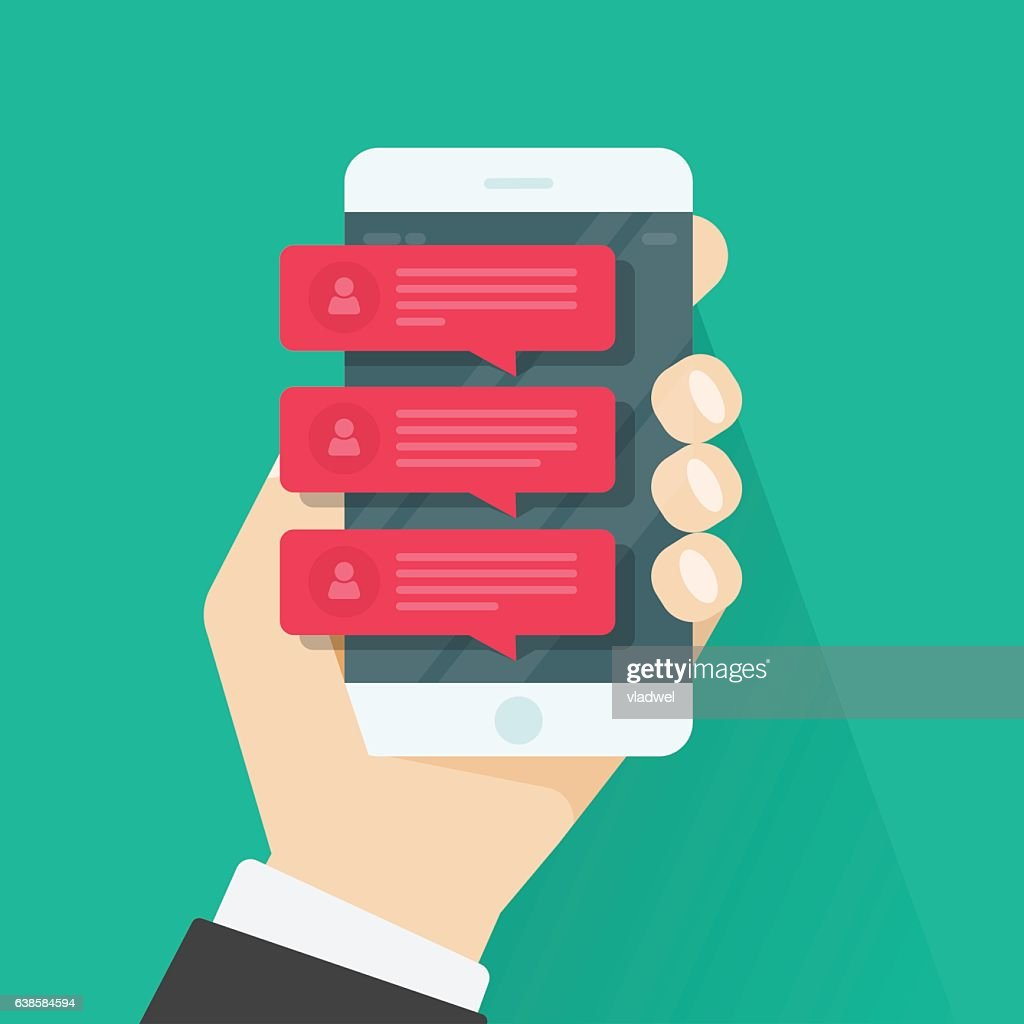 Chat message notifications mobile phone, smartphone red chatting bubble speeches