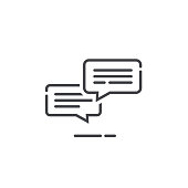 Chat messages icon notification vector illustration, line outline sms conversation bubbles with text, chatting symbol or sign isolated, speech or talk linear art pictogram, comment balloons