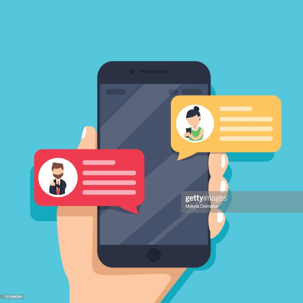 Chat messages notification on smartphone vector illustration, flat cartoon sms bubbles on mobile phone screen