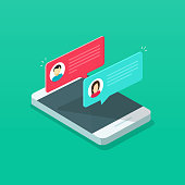 Chat messages notification on smartphone vector illustration, flat cartoon isometric sms bubbles on mobile phone screen, man person chatting cellphone with woman, 3d isolated