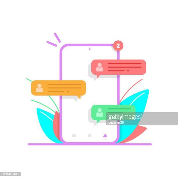 携帯電話のフラットデザインでメッセージをチャット。メッセージ通知と音声バブルテキストベクトルデザイン。 - 通知アイコン点のイラスト素材/クリップアート素材/マンガ素材/アイコン素材