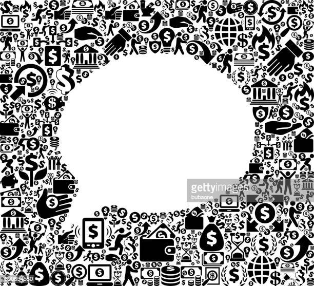Chat Money and Finance Black and White Icon Background