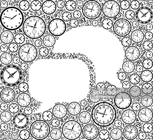 Chat on Time and Clock Vector Icon Pattern