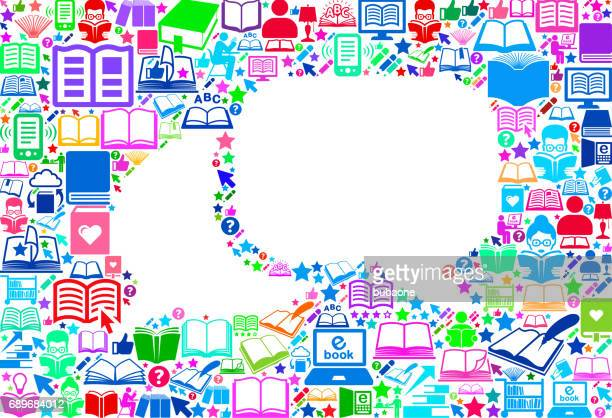 Chat Reading Books and Education Vector Icons Background