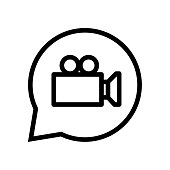 Chat sign Vedio icon in speech bubble - vector iconic design