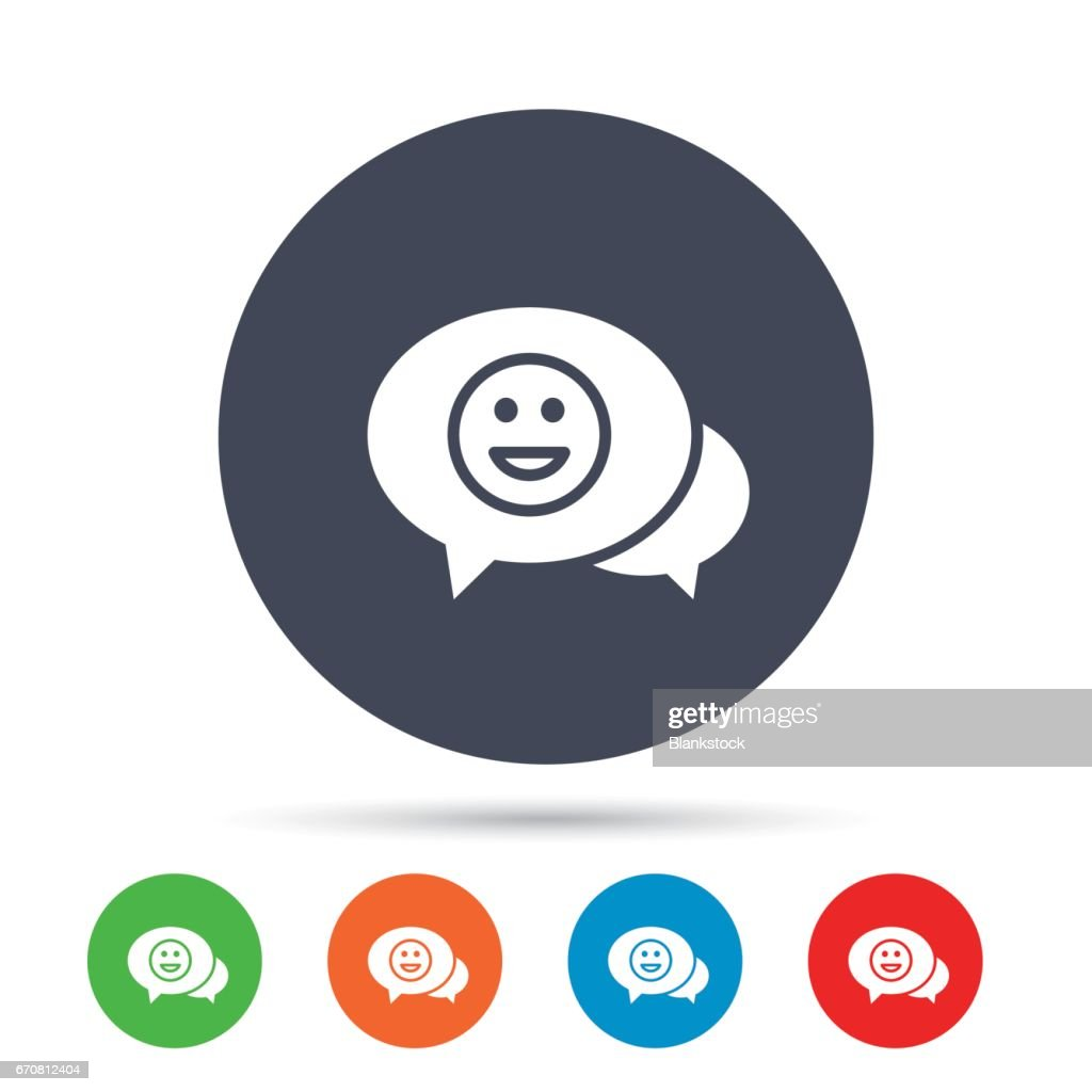 Chat Smile Icon Happy Face Symbol Vector Art Getty Images