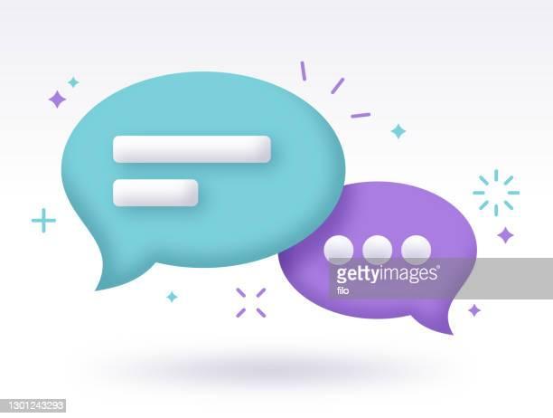chat-sprachblase-kommunikation - sprechblase für internetchat stock-grafiken, -clipart, -cartoons und -symbole