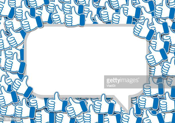 chat speech bubble social media networking banner likes thumbs up - following stock illustrations
