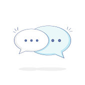 Chat Speech Bubbles, Communication, Contact, Talking, Messaging, Chat or Dialogue - Vector Illustration