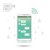 Chat with social network application by mobile phone to contacts.