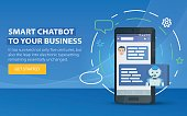 Chatbot business concept. Modern banner for the site. Chatbot and future marketing concept.