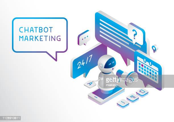 chatbot marketing - dreidimensional stock-grafiken, -clipart, -cartoons und -symbole
